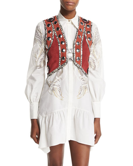 Roberto Cavalli Embellished Snake-Trim Cropped Vest & Long-Sleeve