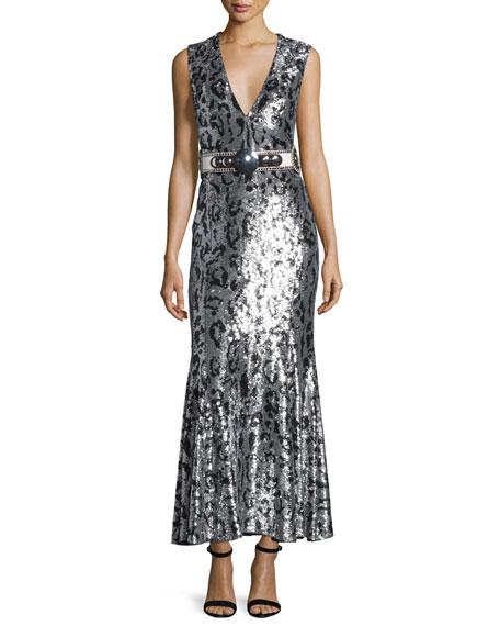 Sleeveless Jaguar-Embellished Gown, Black/Silver