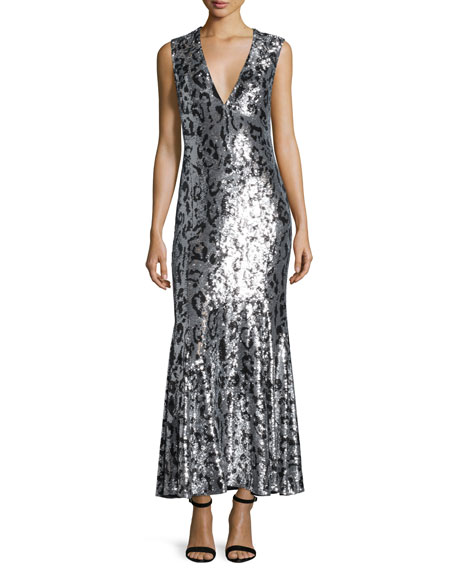 Roberto Cavalli Sleeveless Jaguar-Embellished Gown, Black/Silver