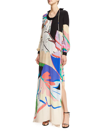 Roberto Cavalli Long-Sleeve Printed Caftan Dress, Pink/Black/Lilac