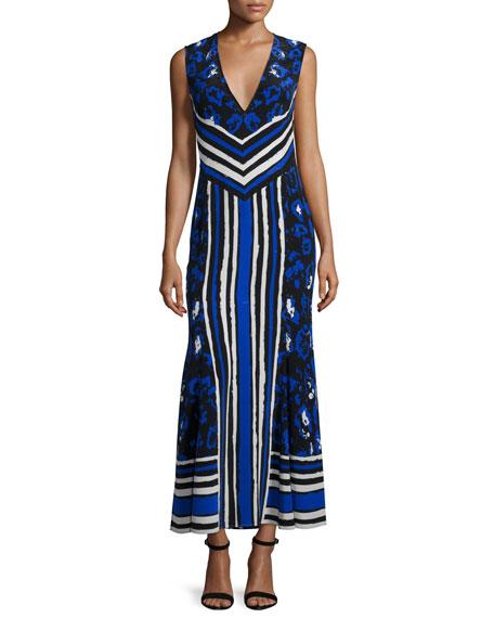 Roberto Cavalli Sleeveless Mixed-Print Maxi Dress, Black/Blue/Navy