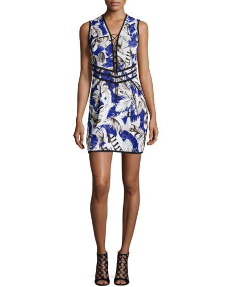 Roberto Cavalli Sleeveless Lace-Up Feather-Print Dress, Blue/Rosa