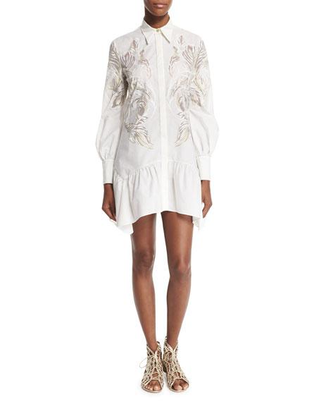 Roberto Cavalli Long-Sleeve Feather-Print Shirtdress, White/Gold