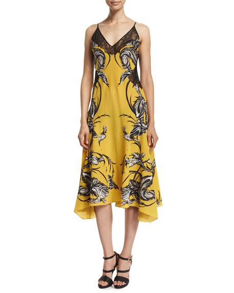 Roberto Cavalli Sleeveless Feather-Print Dress W/Lace, Yellow
