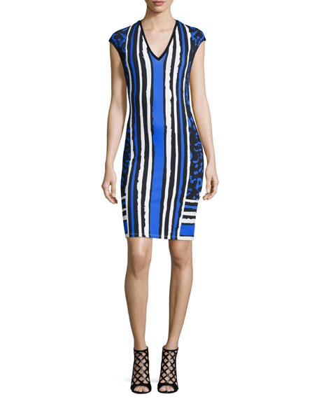 Roberto Cavalli Cap-Sleeve Mixed-Print Sheath Dress, Black/Blue/Navy