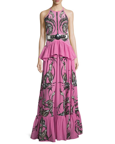 Feather-Print Peplum Tiered Gown, Pink
