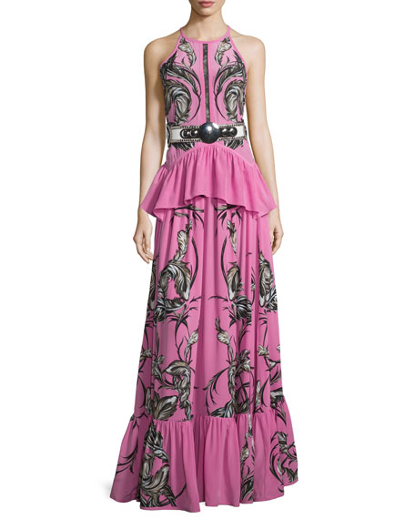 Roberto Cavalli Feather-Print Peplum Tiered Gown, Pink