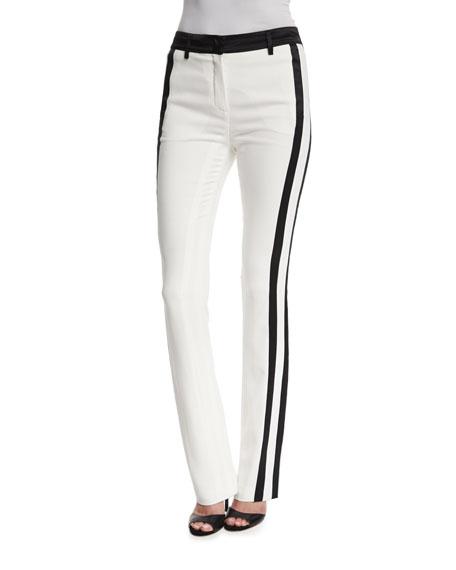 Roberto CavalliSlim-Leg Tuxedo-Striped Pants, Bianco
