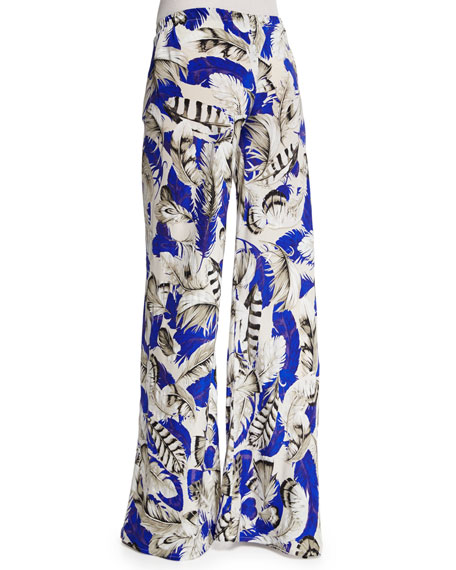 Roberto Cavalli Feather-Print Drawstring Pajama Pants, Blue/Pink