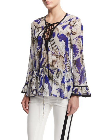 Feather-Print Lace-Up Tunic Top, Blue/Rosa