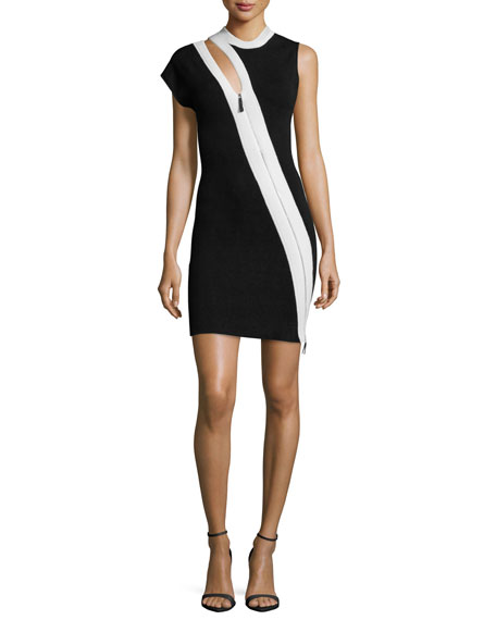 Mugler Asymmetric-Zip Sheath Dress, Black/White