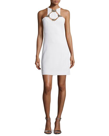 Thierry Mugler Sleeveless Geometric-Cutout Sheath Dress, White