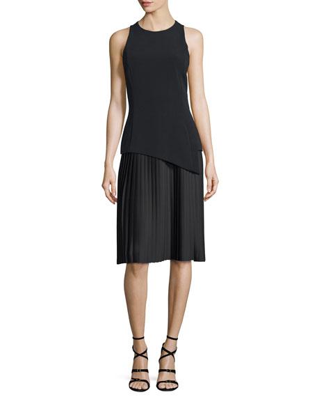 Mugler Sleeveless Plisse-Skirt Sheath Dress, Black