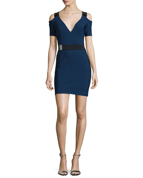 Mugler Cold-Shoulder Belted Sheath Dress, Denim/Black