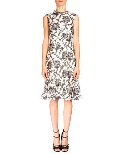 Jana Paneled Sheath Dress, Black/White
