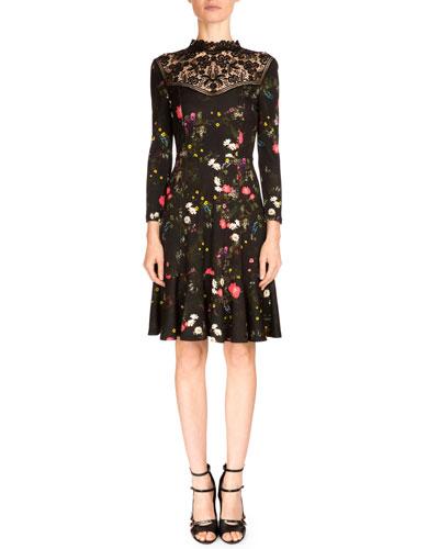 Reiko 3/4-Sleeve Floral-Print Dress, Midnight Daisy