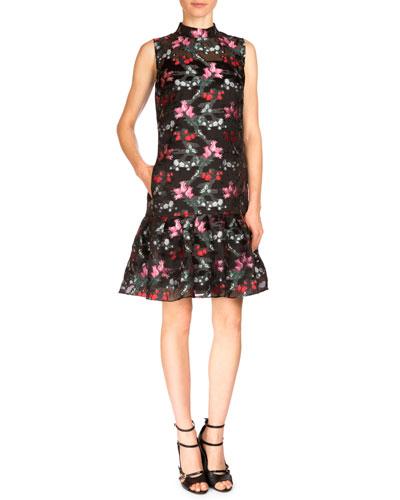 Nena Sleeveless Floral-Print Trapeze Dress, Black