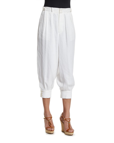 Ralph Lauren Collection Pleated-Front Cropped Jogger Pants, Ivory