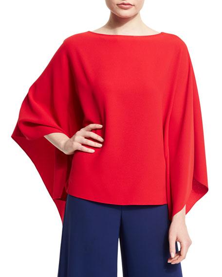 Ralph Lauren 3/4-Sleeve Poncho Top, Red