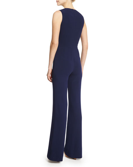 Image 2 of 2: Isadore Sleeveless Double-Face Wool Jumpsuit, Dark Navy