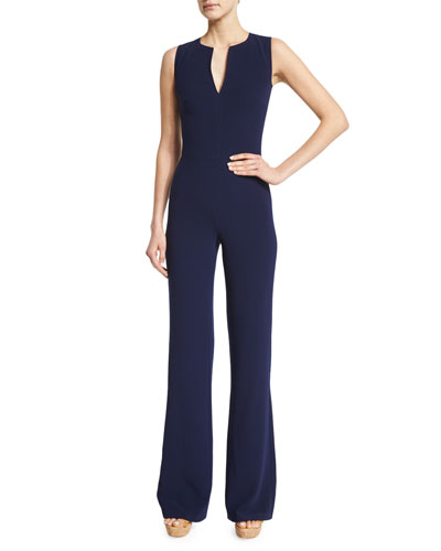 Video: Isadore Sleeveless Double-Face Wool Jumpsuit, Dark Navy
