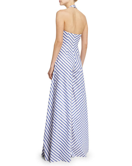 Sleeveless Crisscross Striped Jumpsuit, White/Blue