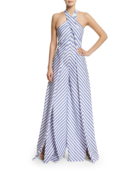 Sleeveless Crisscross Striped Jumpsuit, White/Blue