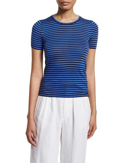 Ralph Lauren Short-Sleeve Striped Top, Dark Navy/French Blue