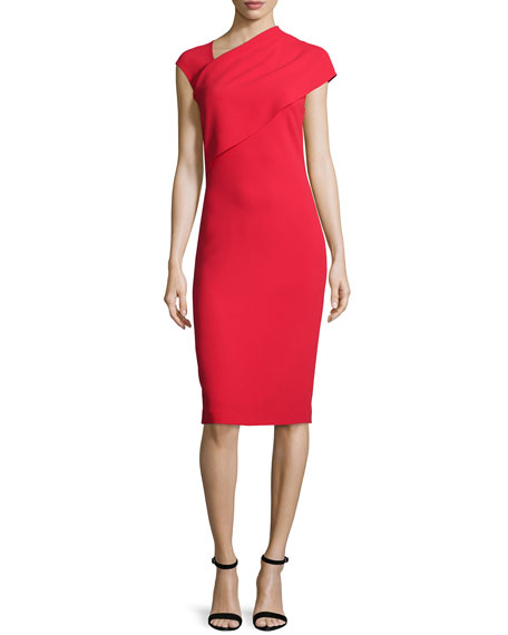 Ralph Lauren Collection Sonya Cap-Sleeve Sheath Dress, Bright