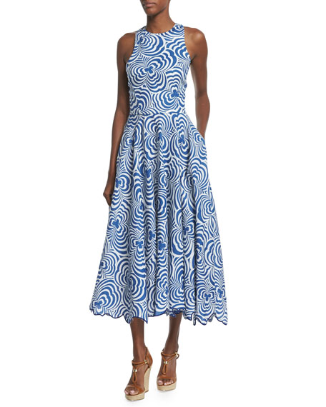 Ralph Lauren Raquel Swirl-Print Linen Dance Dress, Navy/Natural