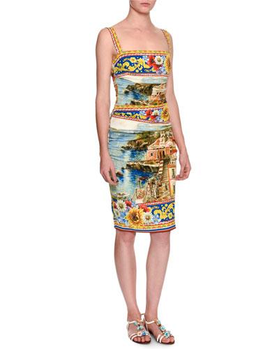 Sorrento Sleeveless Ruched Tank Dress, Yellow/Blue/Multi