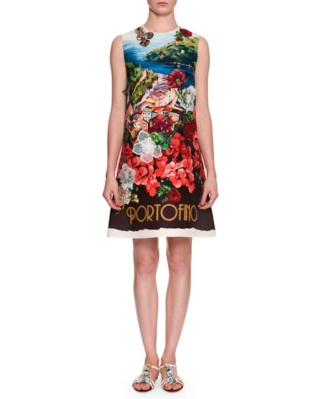 Dolce & Gabbana Portofino Postcard Shift Dress, Blue/Multi