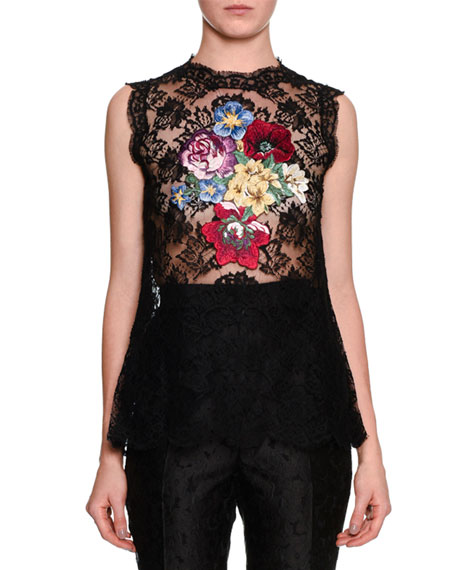 Dolce & Gabbana Sleeveless Floral-Applique Lace Tunic,