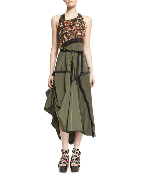 Bottega Veneta Sleeveless Mixed-Print A-Line Dress, Military