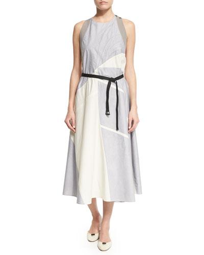 Sleeveless Patchwork A-Line Dress, Glacier/Birch/Haze