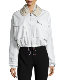Stitched-Collar Bomber Jacket, Mist/Drift