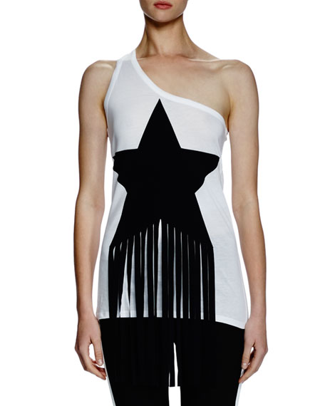 Stella McCartney One-Shoulder Star-Patch Top W/Fringe, Pure White