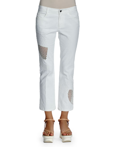 Stella McCartney Mid-Rise Lace-Inset Cropped Jeans, White