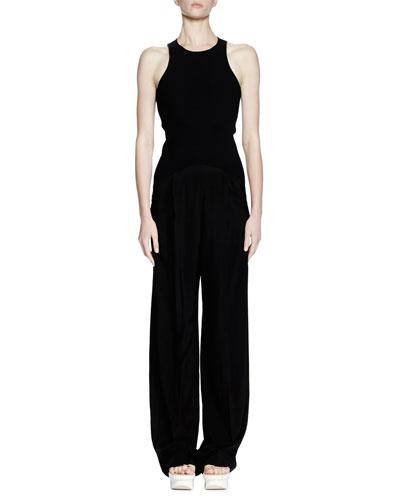 Sleeveless Racerback Fluid-Pant Jumpsuit, Black