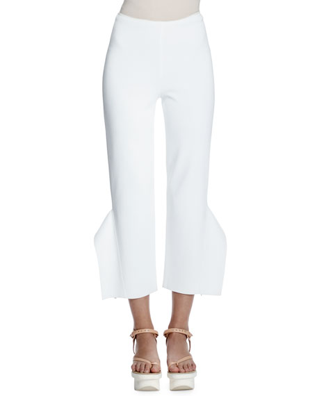 Stella McCartney Strong Shapes Ruffled Cropped Pants, Pure