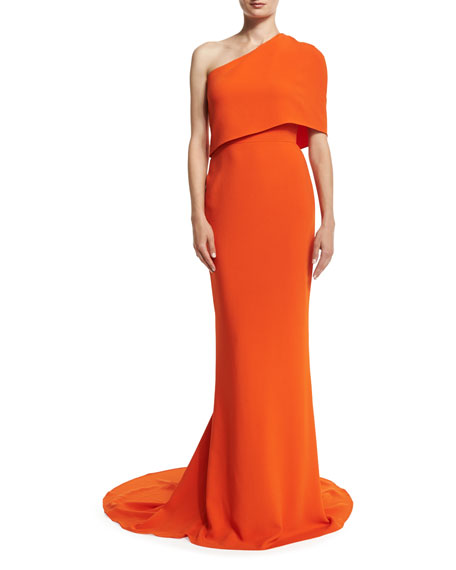 Stella McCartneyOne-Shoulder Popover Mermaid Gown, Poppy