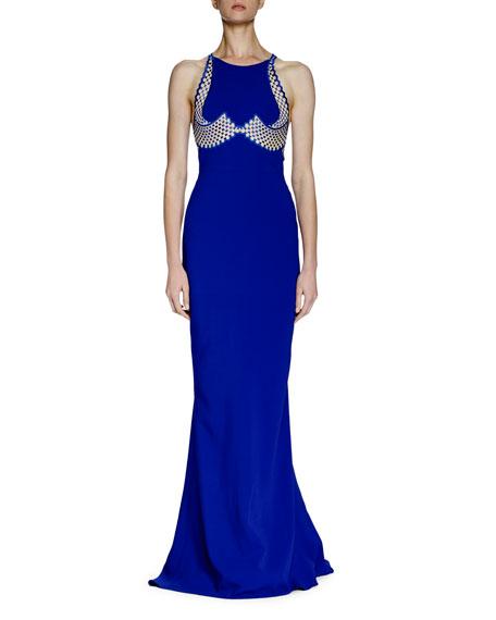 Stella McCartney Cassandre Mesh-Embroidered Gown, Blue Bird