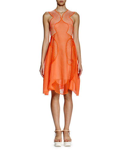 Sleeveless Mesh-Inset Dress, Orange