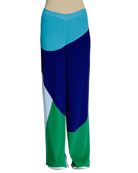 Stella McCartney Colorblock Wide-Leg Ribbed Pants, Multi Colors