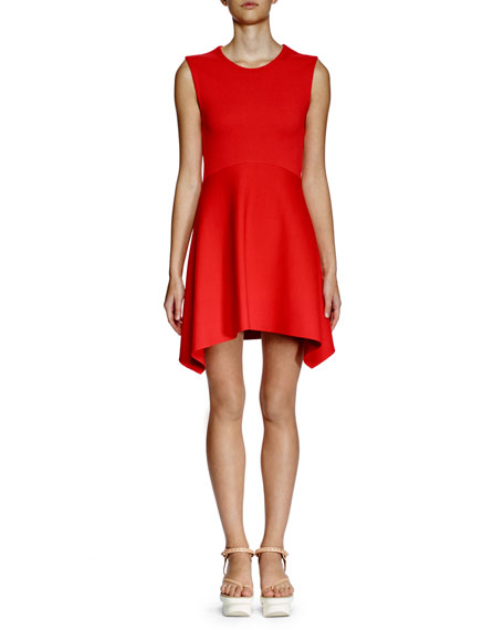 Stella McCartney Strong Shapes Sleeveless Dress, Chili Red