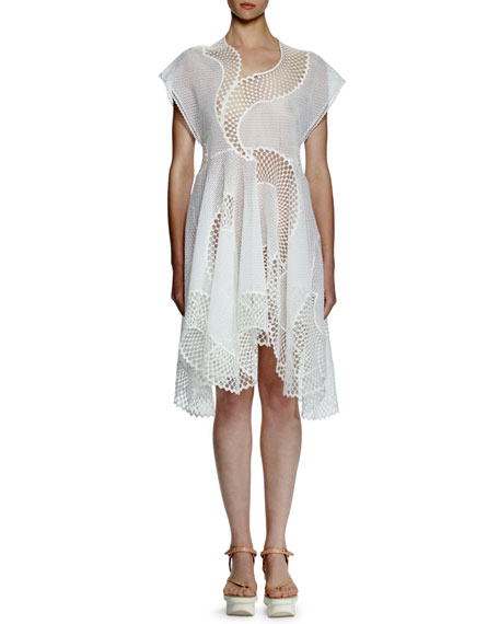 Stella McCartney Clotilde Mesh-Embroidered Dress, Pure White