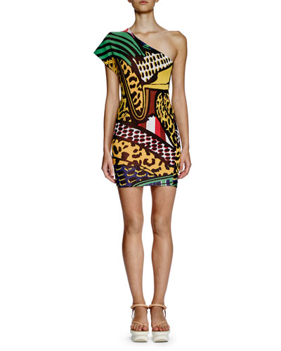 One-Shoulder Printed Sheath Dress, Multi Colors