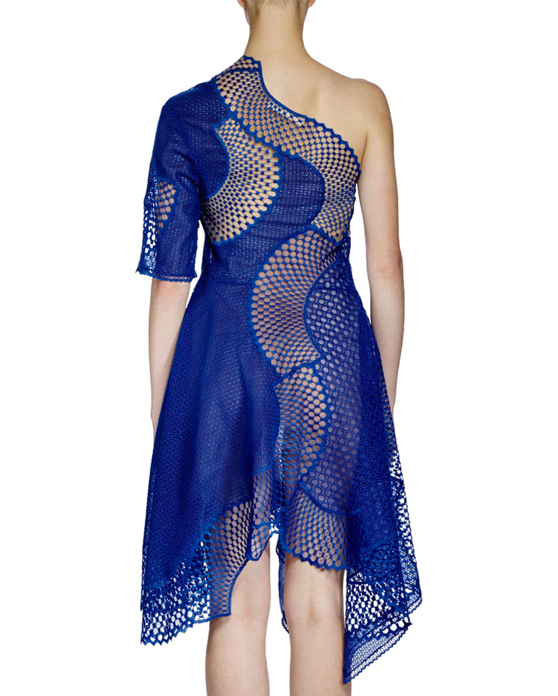 Stella Mccartney Femme Noé Une Épaule Broderie Anglaise Robe De Coton Bleu Taille 34 Stella Mccartney AR2WbvE7o