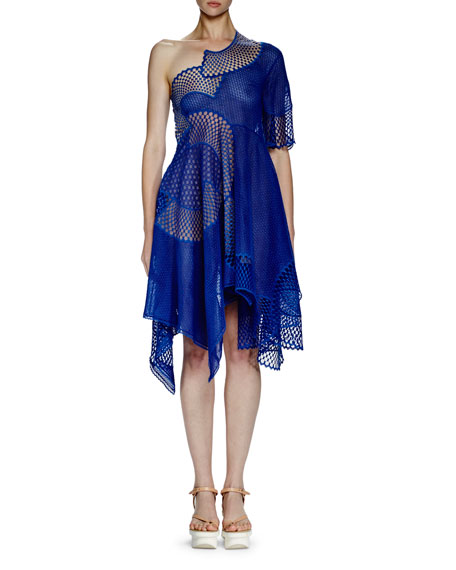 Stella McCartney Noah One-Shoulder Mesh-Embroidered Dress, Cobalt
