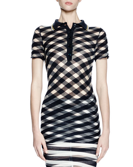 Stella McCartney Transparent-Check Polo Top, Navy/Transparent